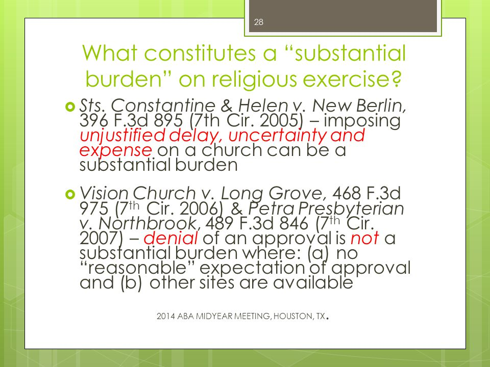 What constitutes a substantial burden on religious exercise.