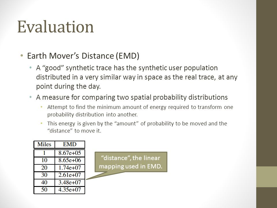 "Evaluation Earth Mover's Distance (EMD) A ""good"" synthetic trace has the synthetic user population distributed in a very similar way in space as the r"