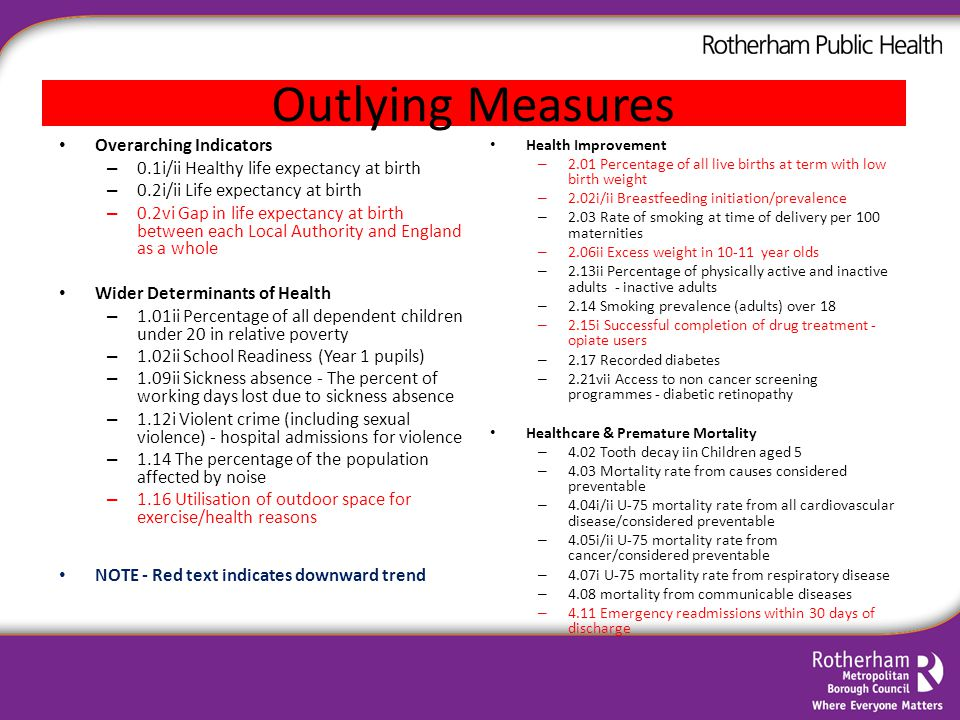 Outlying Measures Overarching Indicators – 0.1i/ii Healthy life expectancy at birth – 0.2i/ii Life expectancy at birth – 0.2vi Gap in life expectancy at birth between each Local Authority and England as a whole Wider Determinants of Health – 1.01ii Percentage of all dependent children under 20 in relative poverty – 1.02ii School Readiness (Year 1 pupils) – 1.09ii Sickness absence - The percent of working days lost due to sickness absence – 1.12i Violent crime (including sexual violence) - hospital admissions for violence – 1.14 The percentage of the population affected by noise – 1.16 Utilisation of outdoor space for exercise/health reasons NOTE - Red text indicates downward trend Health Improvement – 2.01 Percentage of all live births at term with low birth weight – 2.02i/ii Breastfeeding initiation/prevalence – 2.03 Rate of smoking at time of delivery per 100 maternities – 2.06ii Excess weight in 10-11 year olds – 2.13ii Percentage of physically active and inactive adults - inactive adults – 2.14 Smoking prevalence (adults) over 18 – 2.15i Successful completion of drug treatment - opiate users – 2.17 Recorded diabetes – 2.21vii Access to non cancer screening programmes - diabetic retinopathy Healthcare & Premature Mortality – 4.02 Tooth decay iin Children aged 5 – 4.03 Mortality rate from causes considered preventable – 4.04i/ii U-75 mortality rate from all cardiovascular disease/considered preventable – 4.05i/ii U-75 mortality rate from cancer/considered preventable – 4.07i U-75 mortality rate from respiratory disease – 4.08 mortality from communicable diseases – 4.11 Emergency readmissions within 30 days of discharge