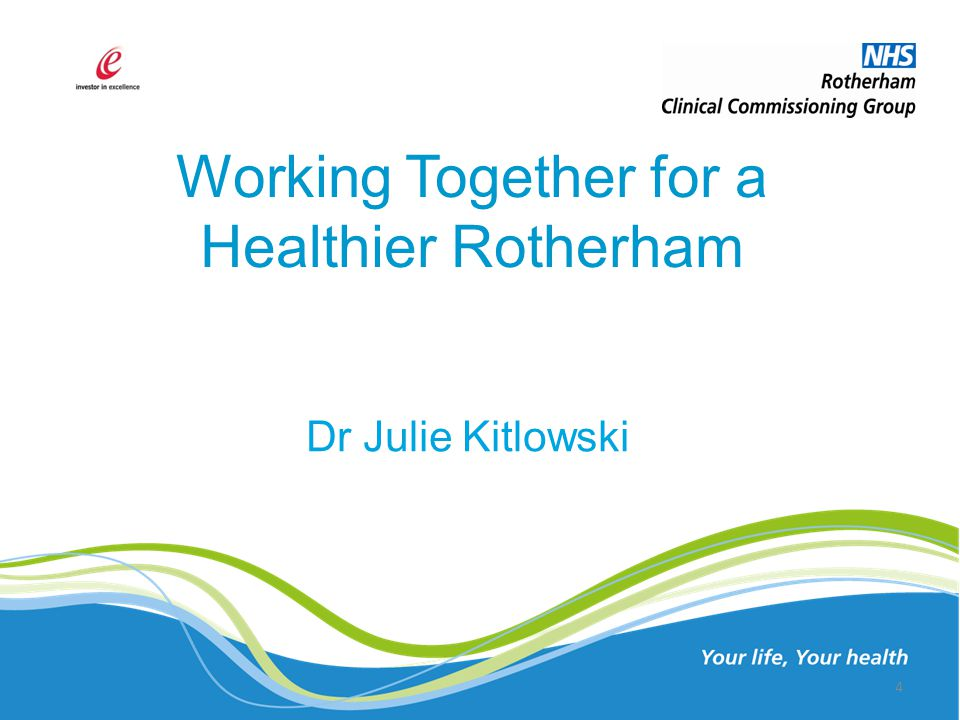 Working Together for a Healthier Rotherham Dr Julie Kitlowski 4