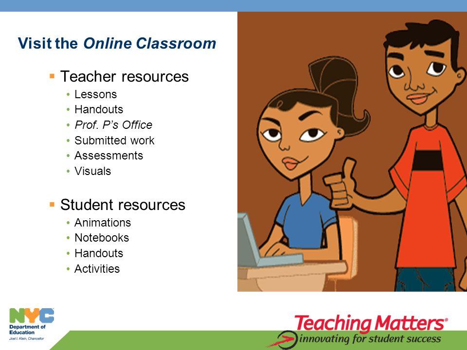 Visit the Online Classroom  Teacher resources Lessons Handouts Prof.
