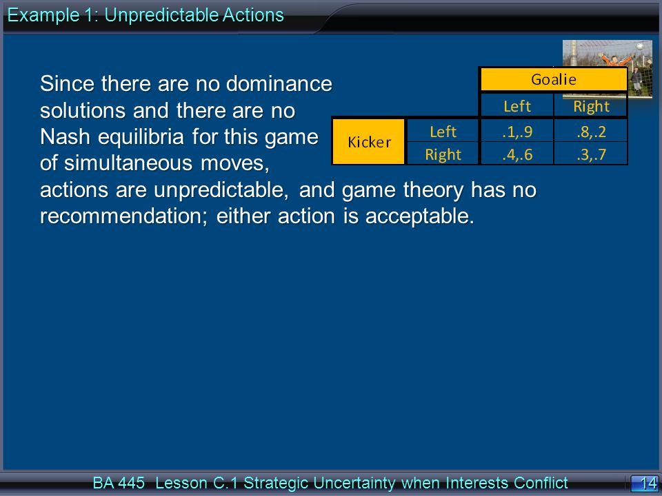 14 BA 445 Lesson C.1 Strategic Uncertainty when Interests Conflict Since there are no dominance solutions and there are no Nash equilibria for this game of simultaneous moves, actions are unpredictable, and game theory has no recommendation; either action is acceptable.
