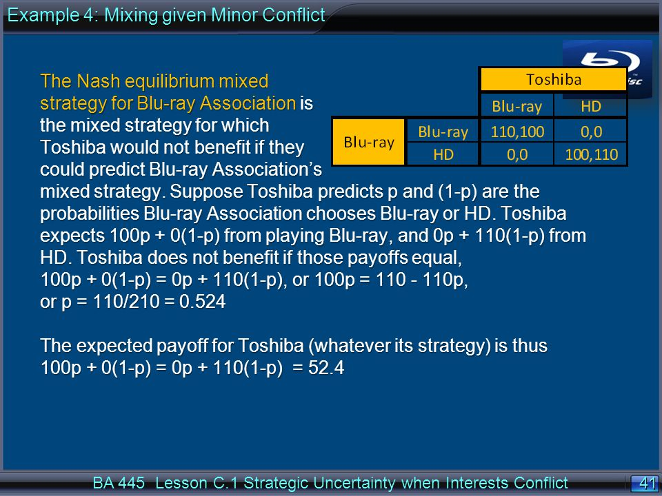 41 BA 445 Lesson C.1 Strategic Uncertainty when Interests Conflict The Nash equilibrium mixed strategy for Blu-ray Association is the mixed strategy for which Toshiba would not benefit if they could predict Blu-ray Association's mixed strategy.