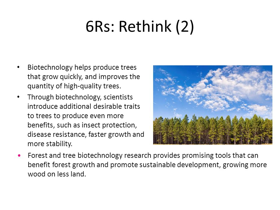 6Rs: Rethink (2) Biotechnology helps produce trees that grow quickly, and improves the quantity of high-quality trees. Through biotechnology, scientis