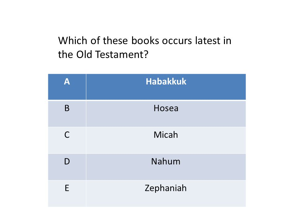 AHabakkuk BHosea CMicah DNahum EZephaniah Which of these books occurs latest in the Old Testament