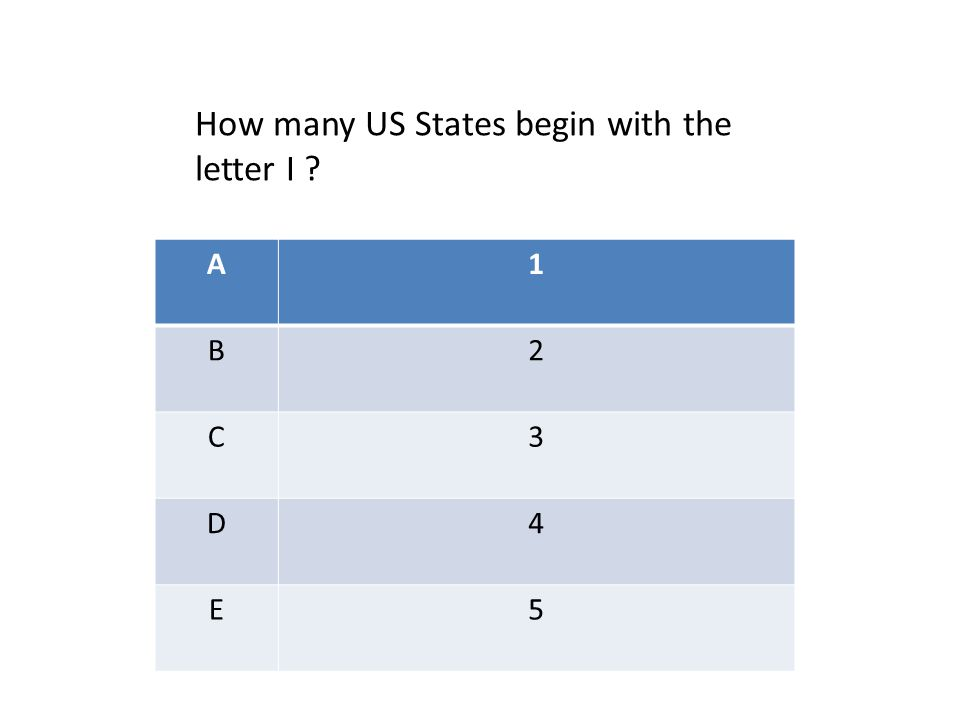 A1 B2 C3 D4 E5 How many US States begin with the letter I