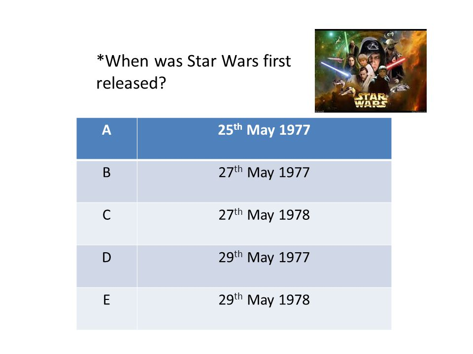 A25 th May 1977 B27 th May 1977 C27 th May 1978 D29 th May 1977 E29 th May 1978 *When was Star Wars first released