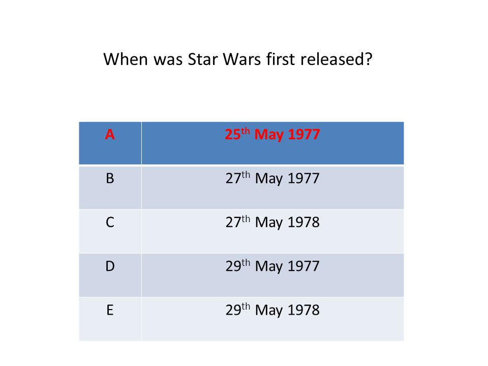 A25 th May 1977 B27 th May 1977 C27 th May 1978 D29 th May 1977 E29 th May 1978 When was Star Wars first released