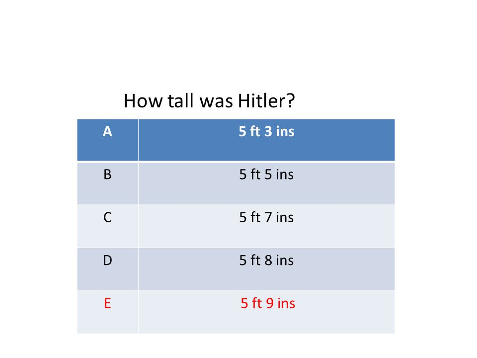 A5 ft 3 ins B5 ft 5 ins C5 ft 7 ins D5 ft 8 ins E 5 ft 9 ins How tall was Hitler