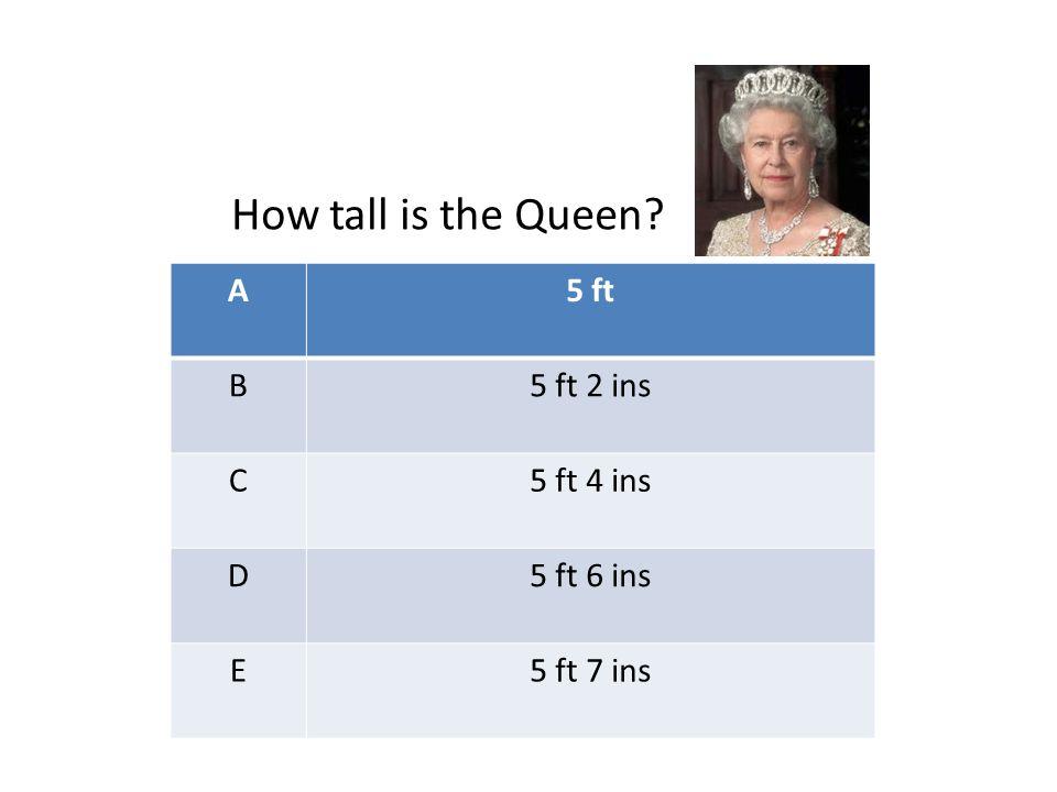 A5 ft B5 ft 2 ins C5 ft 4 ins D5 ft 6 ins E5 ft 7 ins How tall is the Queen