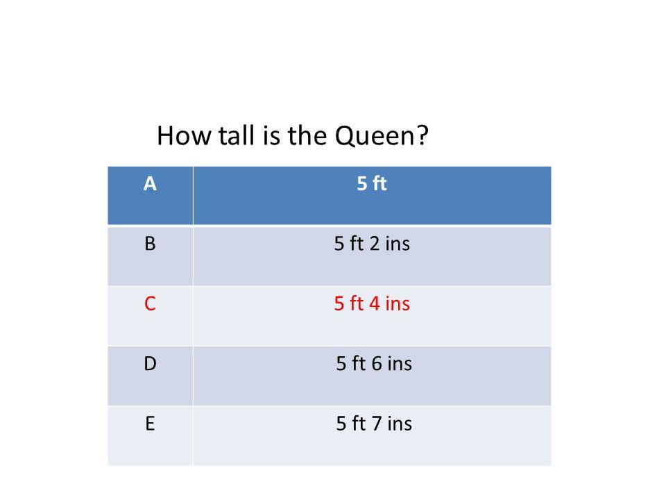 A5 ft B5 ft 2 ins C5 ft 4 ins D 5 ft 6 ins E 5 ft 7 ins How tall is the Queen
