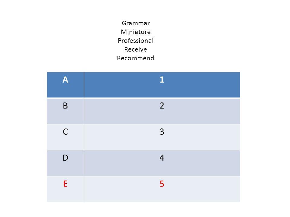 A1 B2 C3 D4 E5 Grammar Miniature Professional Receive Recommend