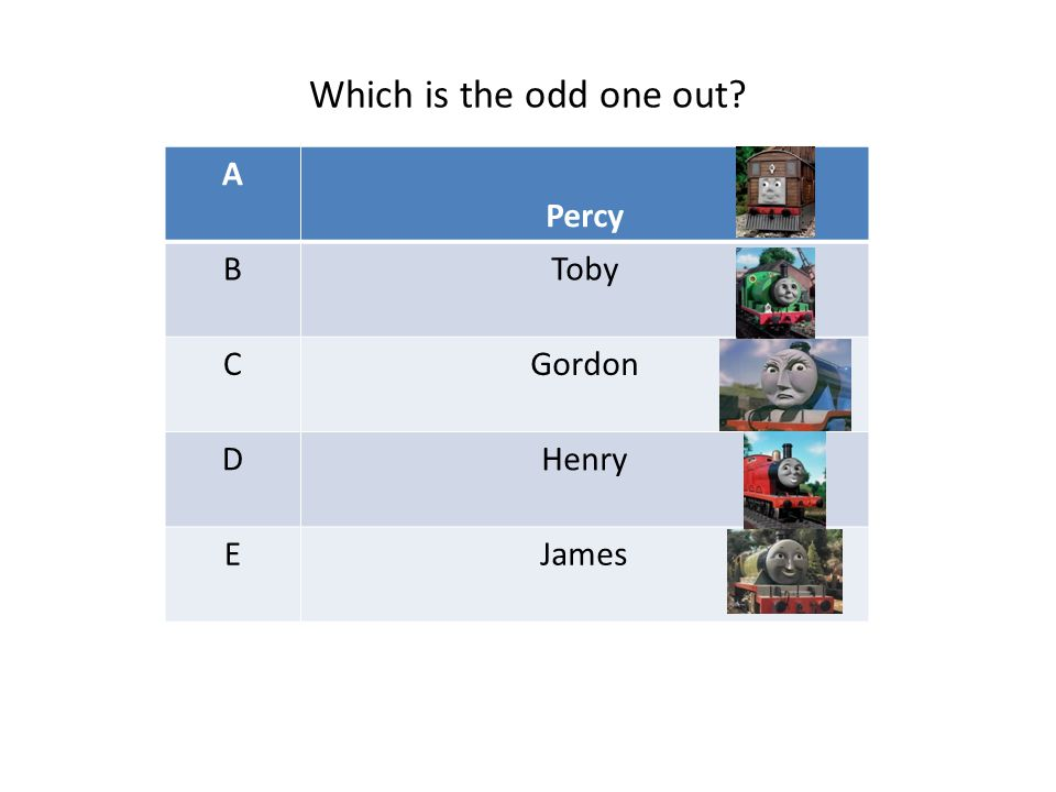 A Percy BToby CGordon DHenry EJames Which is the odd one out