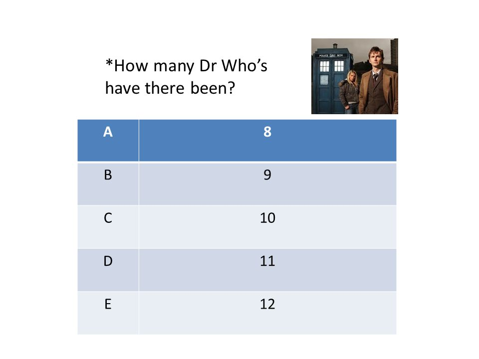 A8 B9 C10 D11 E12 *How many Dr Who's have there been