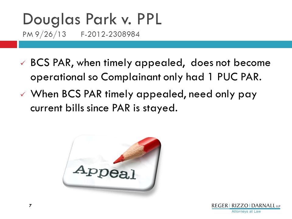 BCS PAR, when timely appealed, does not become operational so Complainant only had 1 PUC PAR.