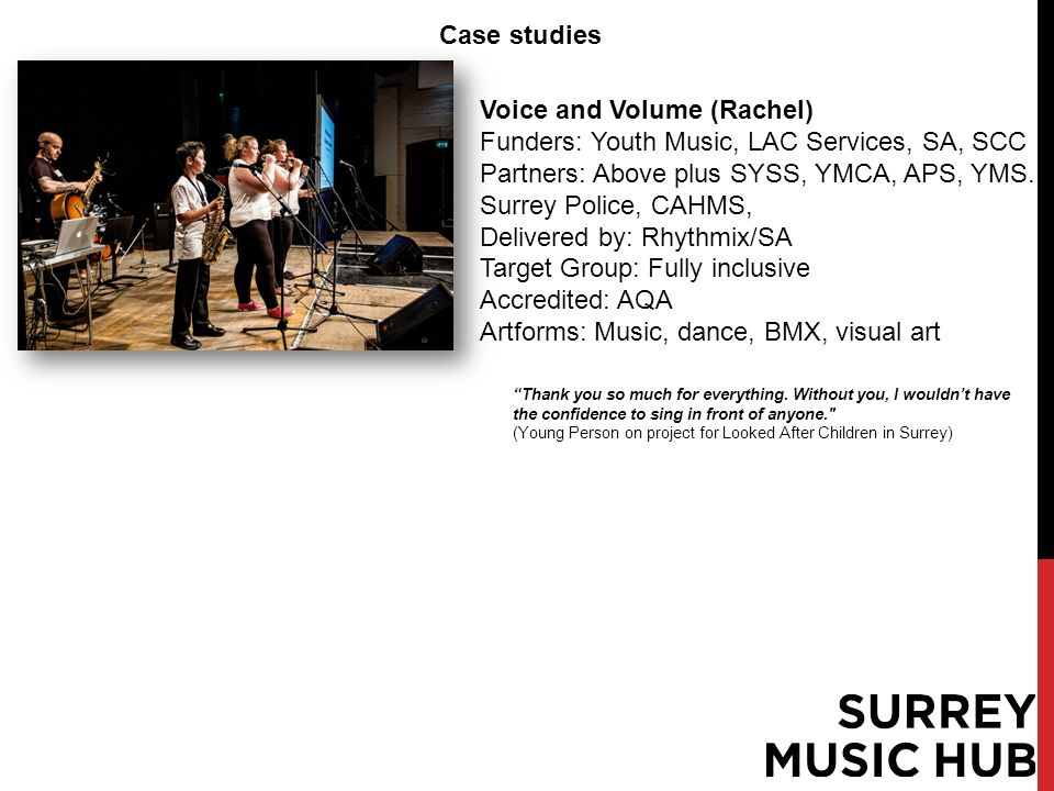 Case studies Voice and Volume (Rachel) Funders: Youth Music, LAC Services, SA, SCC Partners: Above plus SYSS, YMCA, APS, YMS.