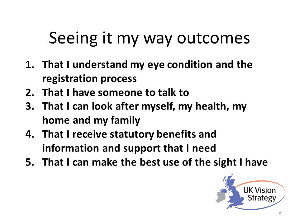 Seeing it my way outcomes 1.That I understand my eye condition and the registration process 2.That I have someone to talk to 3.That I can look after m