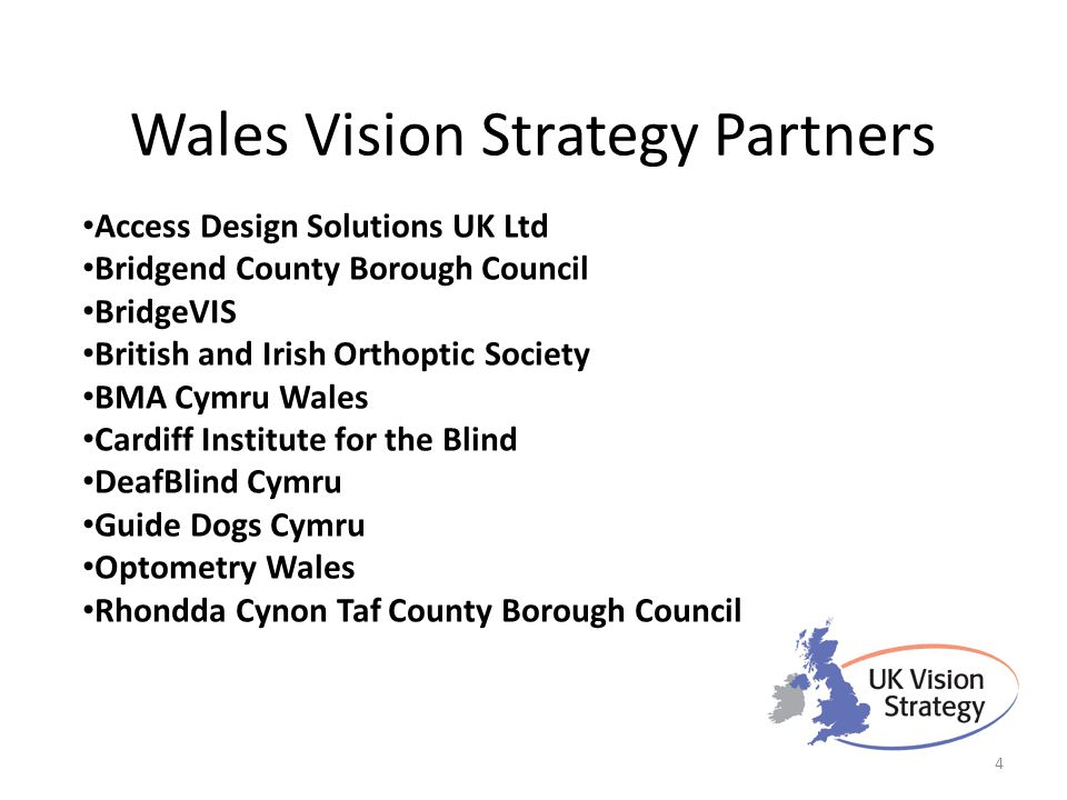 Wales Vision Strategy Partners Access Design Solutions UK Ltd Bridgend County Borough Council BridgeVIS British and Irish Orthoptic Society BMA Cymru