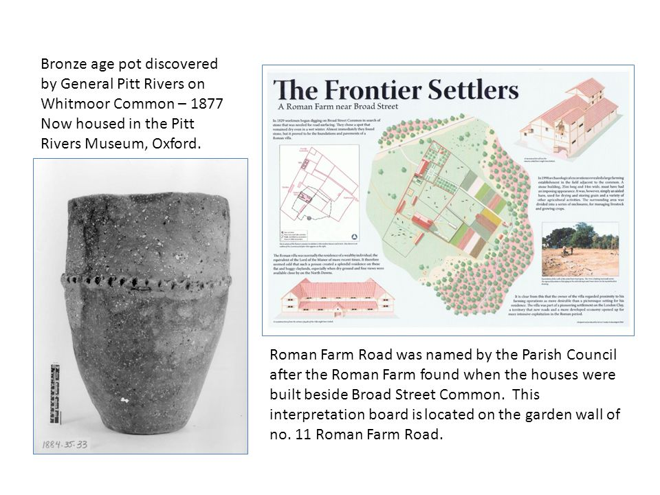 Bronze age pot discovered by General Pitt Rivers on Whitmoor Common – 1877 Now housed in the Pitt Rivers Museum, Oxford.