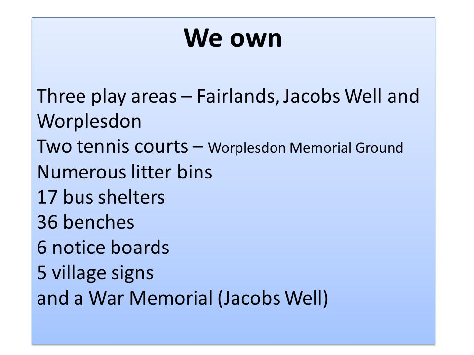 We own Three play areas – Fairlands, Jacobs Well and Worplesdon Two tennis courts – Worplesdon Memorial Ground Numerous litter bins 17 bus shelters 36 benches 6 notice boards 5 village signs and a War Memorial (Jacobs Well) We own Three play areas – Fairlands, Jacobs Well and Worplesdon Two tennis courts – Worplesdon Memorial Ground Numerous litter bins 17 bus shelters 36 benches 6 notice boards 5 village signs and a War Memorial (Jacobs Well)