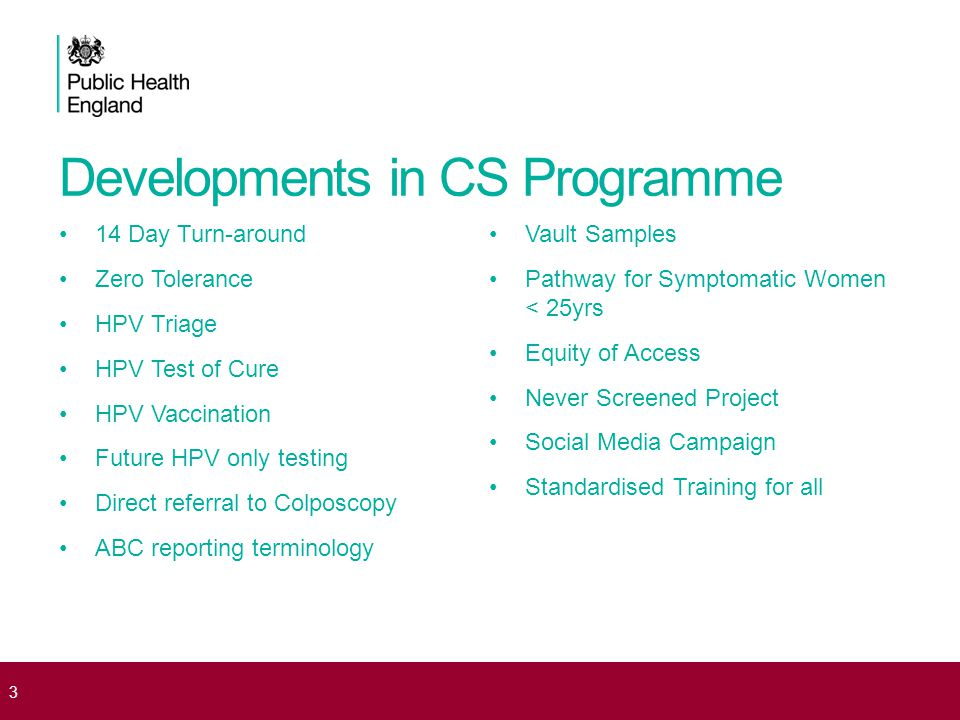 Cervical Screening Coverage Data KC53 31 March 2013 Manchester PCT * Age Group Eligible Population (2013) No of women screened in last 5 years (2013) Percentage of women screened in last 5 years(2012) Percentage of women screened in last 5 years(2013) UP/DOWN (12 to 13) 80% shortfall (2013) Percentage of women screened in last 5 years (2013) North West 25 - 29293901795762.2%61.1%DOWN555567.6% 30 - 34259271954576.1%75.4%DOWN119680.4% 35 - 39189871462577.6%77.0%DOWN56481.9% 40 - 44171921362679.7%79.3%DOWN12782.8% 45 - 49158611250479.6%78.8%DOWN18482.3% 50 - 54130131005377.1%77.3%UP35780.8% 55 - 599739684271.1%70.3%DOWN94974.4% 60 - 647962526067.0%66.1%DOWN110971.4% 25 - 6413807110041273.4%72.7%DOWN1004178.0% 4