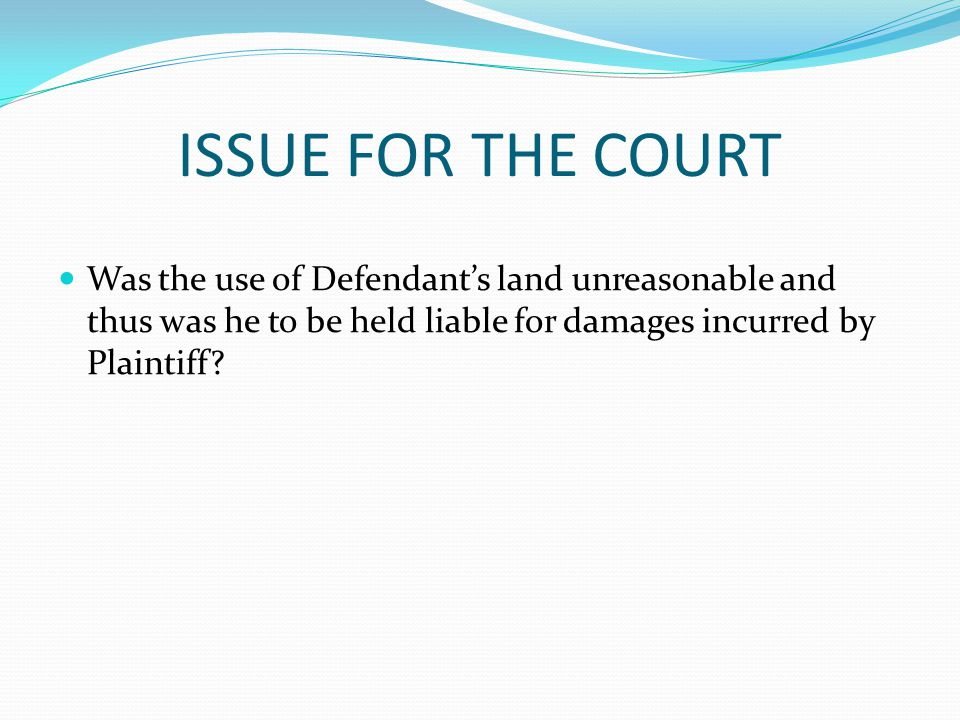 ISSUE FOR THE COURT Was the use of Defendant's land unreasonable and thus was he to be held liable for damages incurred by Plaintiff