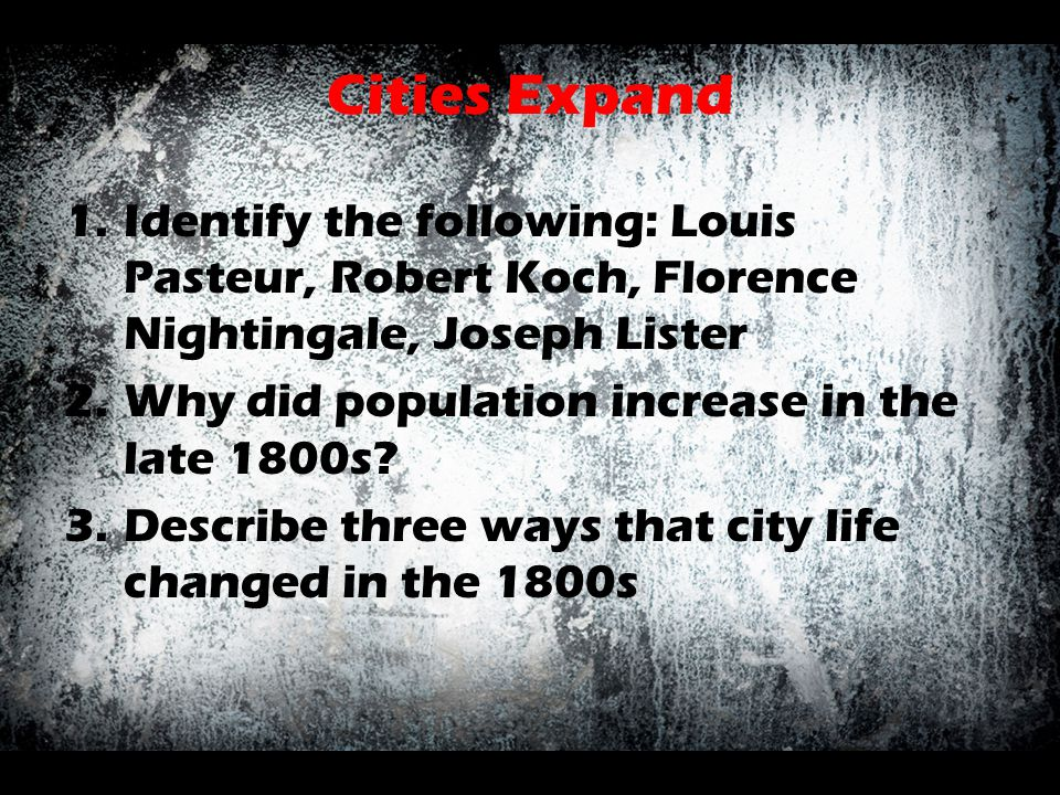 Cities Expand 1.Identify the following: Louis Pasteur, Robert Koch, Florence Nightingale, Joseph Lister 2.Why did population increase in the late 1800