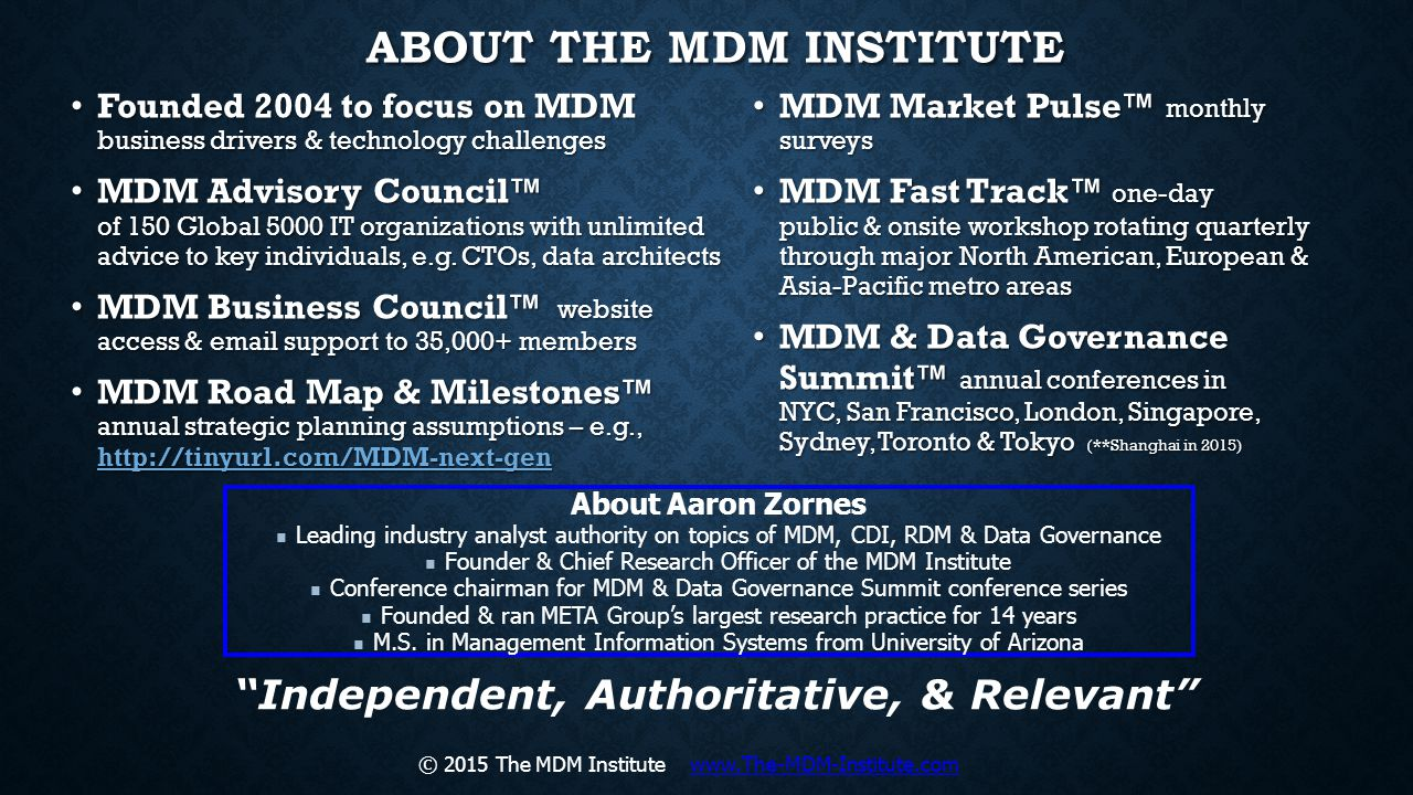 ABOUT THE MDM INSTITUTE Founded 2004 to focus on MDM business drivers & technology challenges Founded 2004 to focus on MDM business drivers & technolo