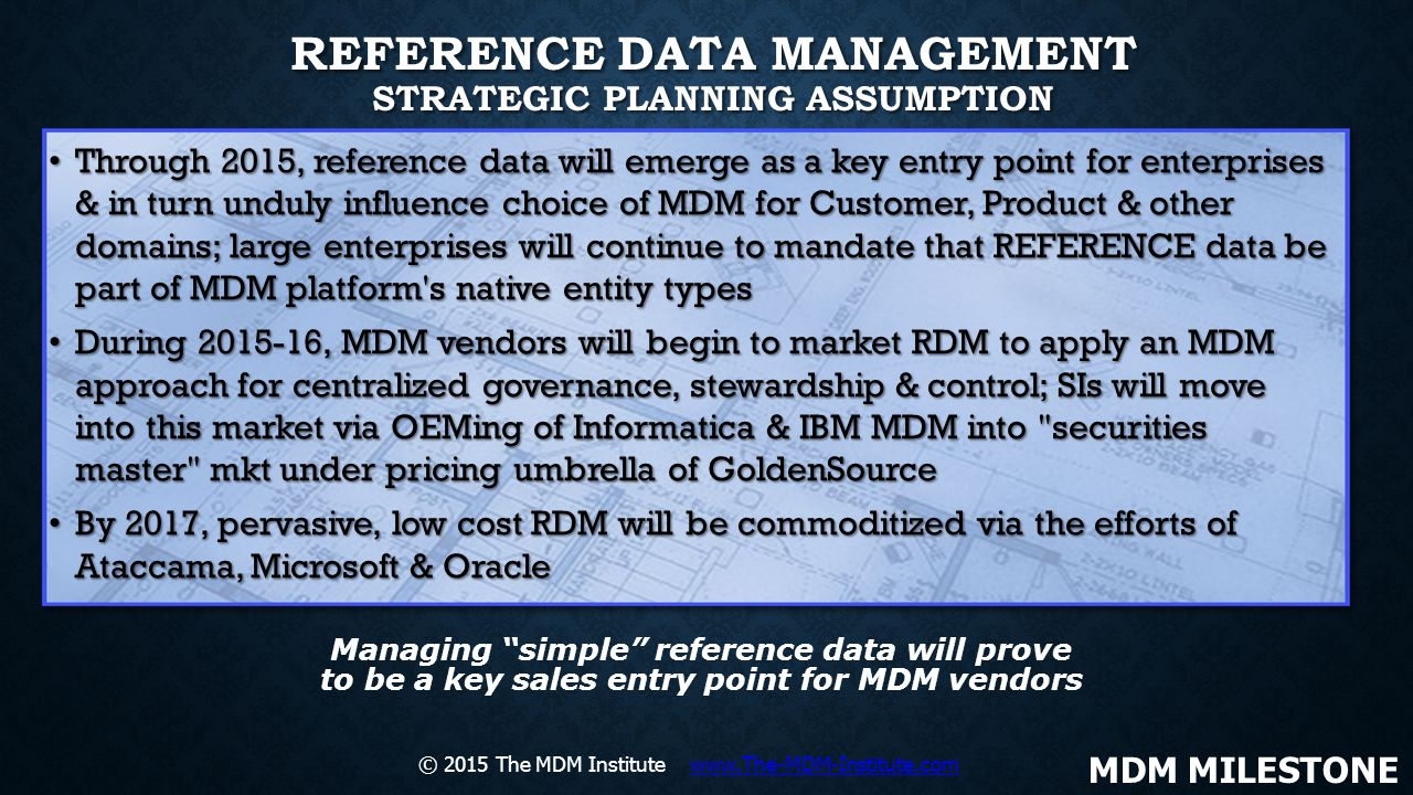 REFERENCE DATA MANAGEMENT STRATEGIC PLANNING ASSUMPTION Through 2015, reference data will emerge as a key entry point for enterprises & in turn unduly