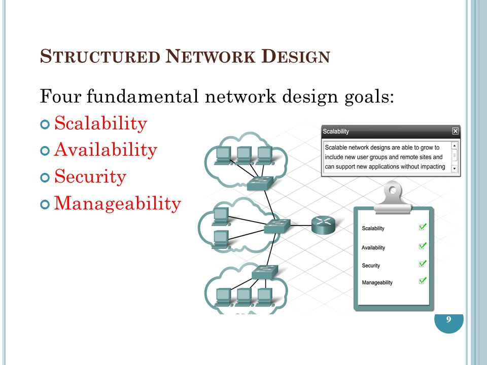 H OW A S TRUCTURED N ETWORK D ESIGN C REATES A S TABLE, R ELIABLE, S CALABLE N ETWORK Network requirements: Ease of management Fast recovery Application response time Fast troubleshooting 10