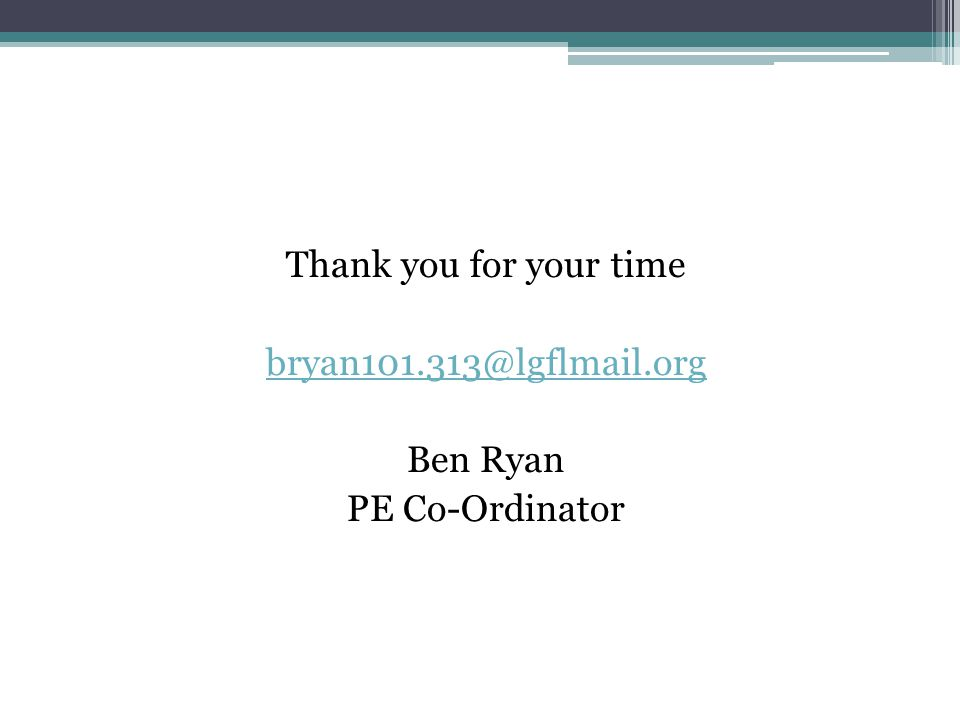 Thank you for your time bryan101.313@lgflmail.org Ben Ryan PE Co-Ordinator