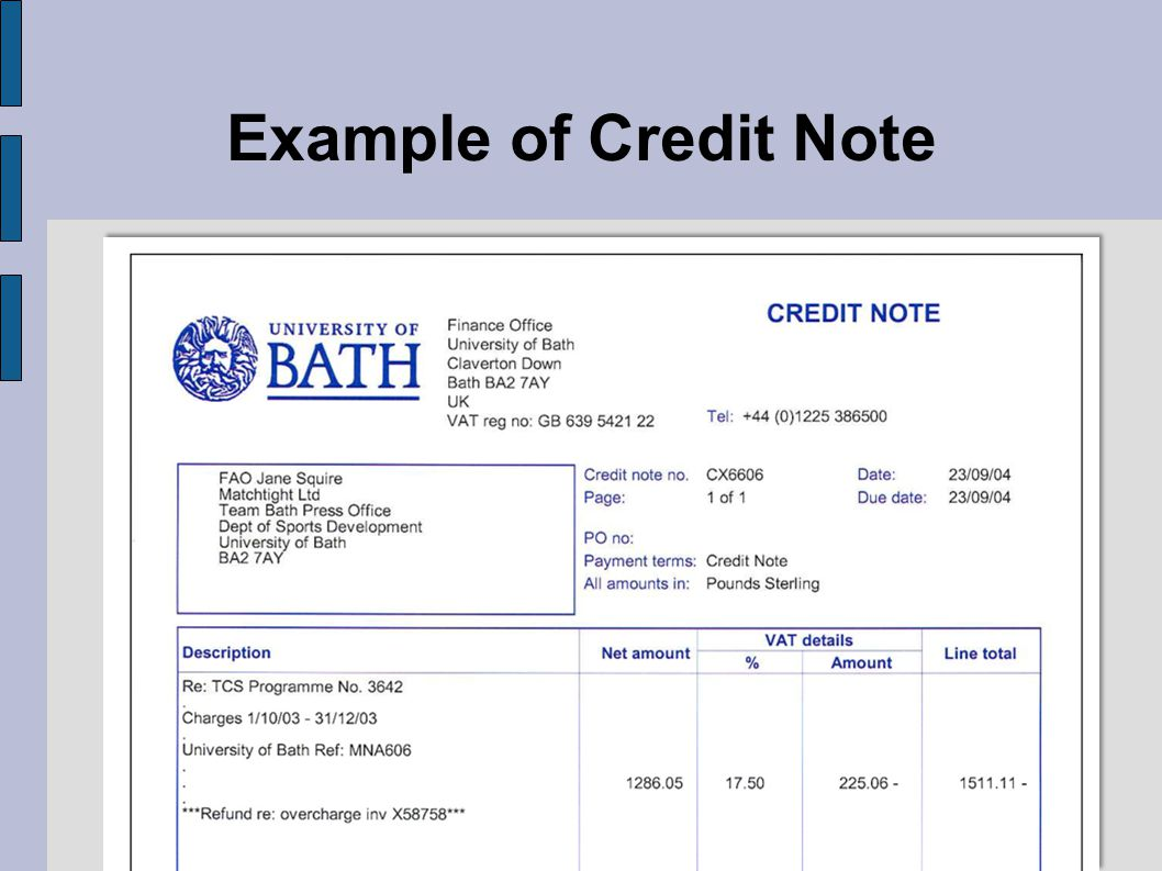 Example of Credit Note