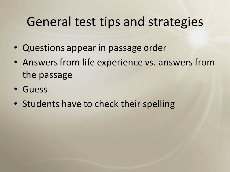 Tip: test answers follow Q order