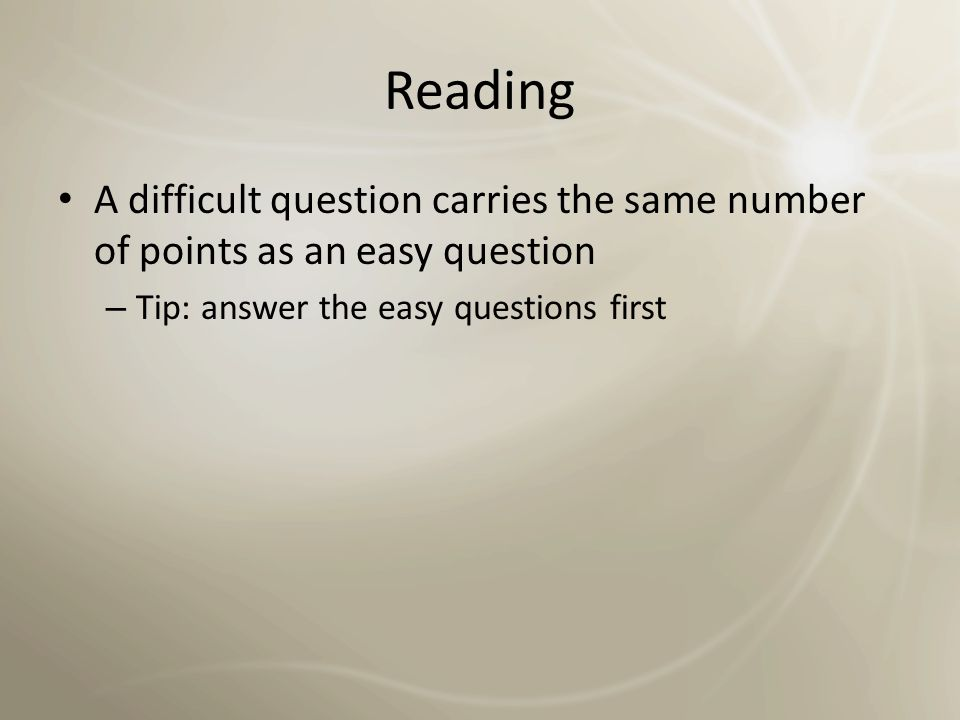 Reading overview SkillsQuestion Types Recognizing arguments / views in texts Choosing from a list Classification Matching Interacting with / analyzing passage Matching sentence endings Yes / No / Not given