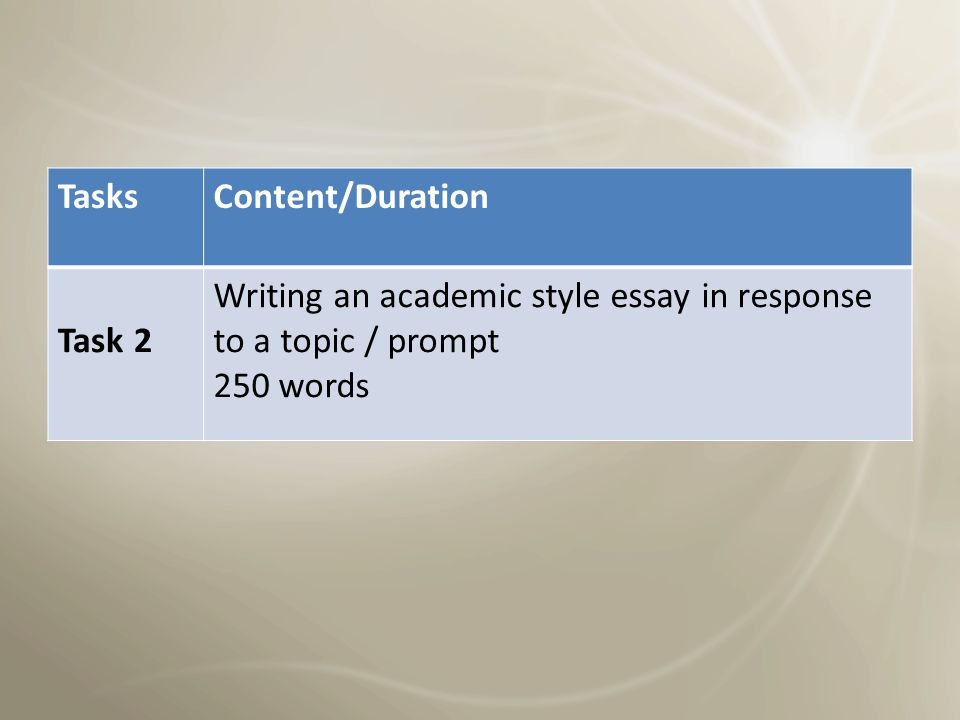 Writing overview TasksContent/Duration 2 Tasks60 minutes Task 1 150 words Academic: Graph General: Letter / Prompt