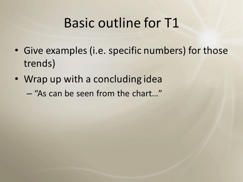 Basic outline for T1 Write an overview of the chart – This chart shows… – NOT (topic=sales of chocolate) Chocolate is my favorite sweet, and it's the favorite one of everyone in the world… Write the important trends