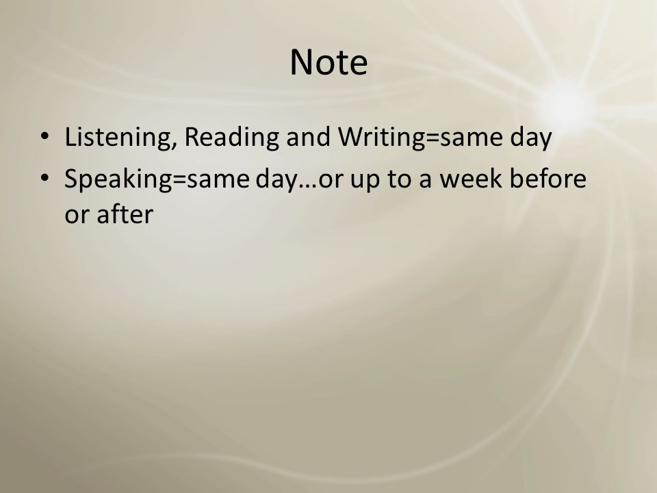 SECTION INFORMATION: SPEAKING