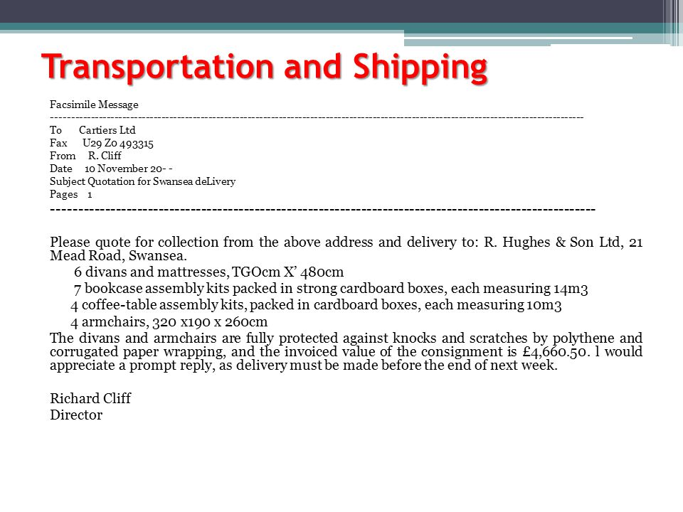 Transportation and Shipping Facsimile Message --------------------------------------------------------------------------------------------------------