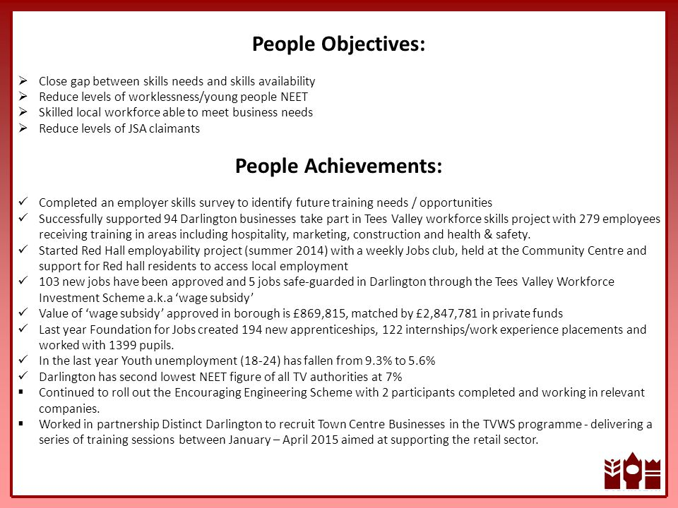 People Objectives:  Close gap between skills needs and skills availability  Reduce levels of worklessness/young people NEET  Skilled local workforce able to meet business needs  Reduce levels of JSA claimants People Achievements: Completed an employer skills survey to identify future training needs / opportunities Successfully supported 94 Darlington businesses take part in Tees Valley workforce skills project with 279 employees receiving training in areas including hospitality, marketing, construction and health & safety.