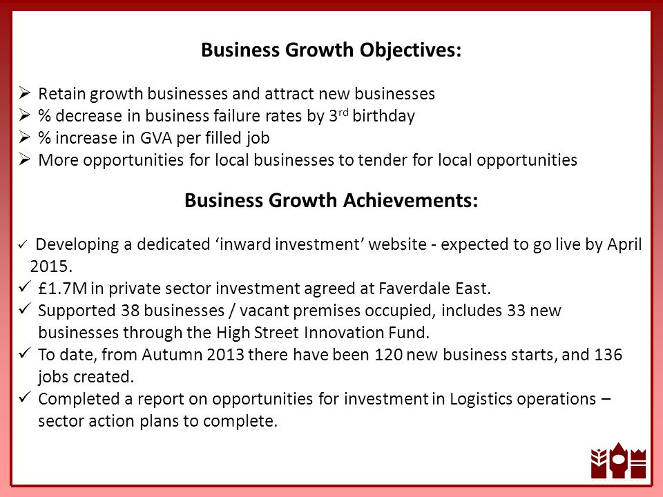 Business Growth Objectives:  Retain growth businesses and attract new businesses  % decrease in business failure rates by 3 rd birthday  % increase in GVA per filled job  More opportunities for local businesses to tender for local opportunities Business Growth Achievements: Developing a dedicated 'inward investment' website - expected to go live by April 2015.