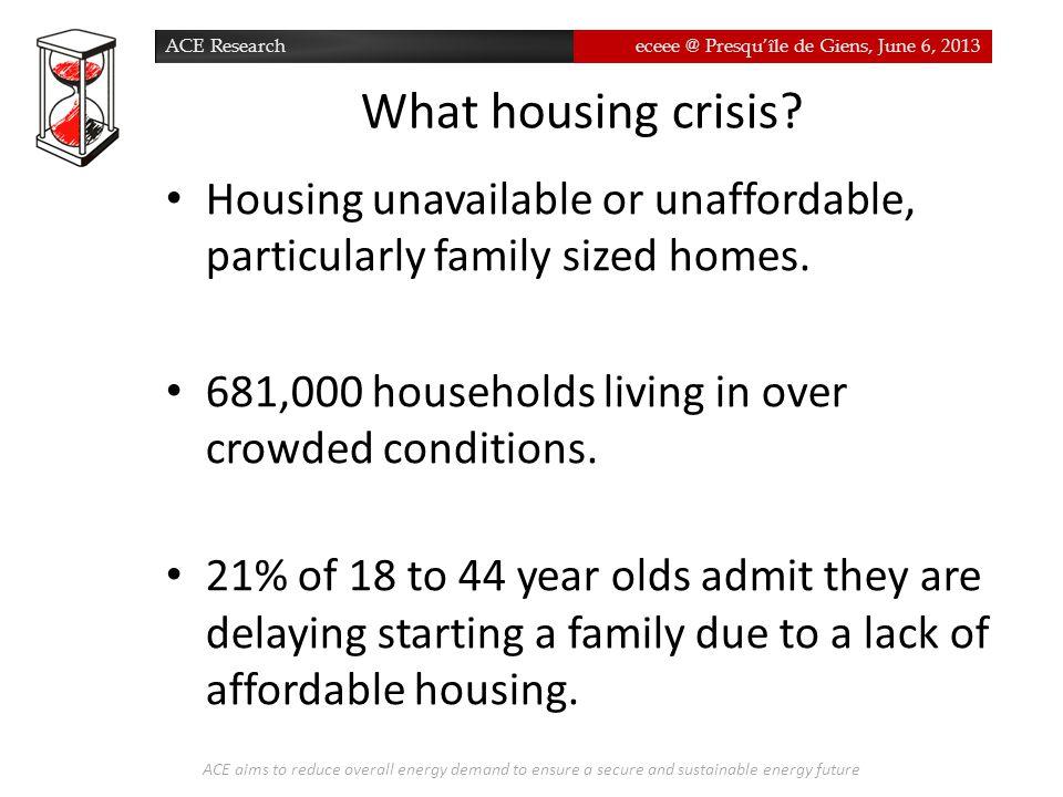 ACE Researcheceee @ Presqu'île de Giens, June 6, 2013 What housing crisis.