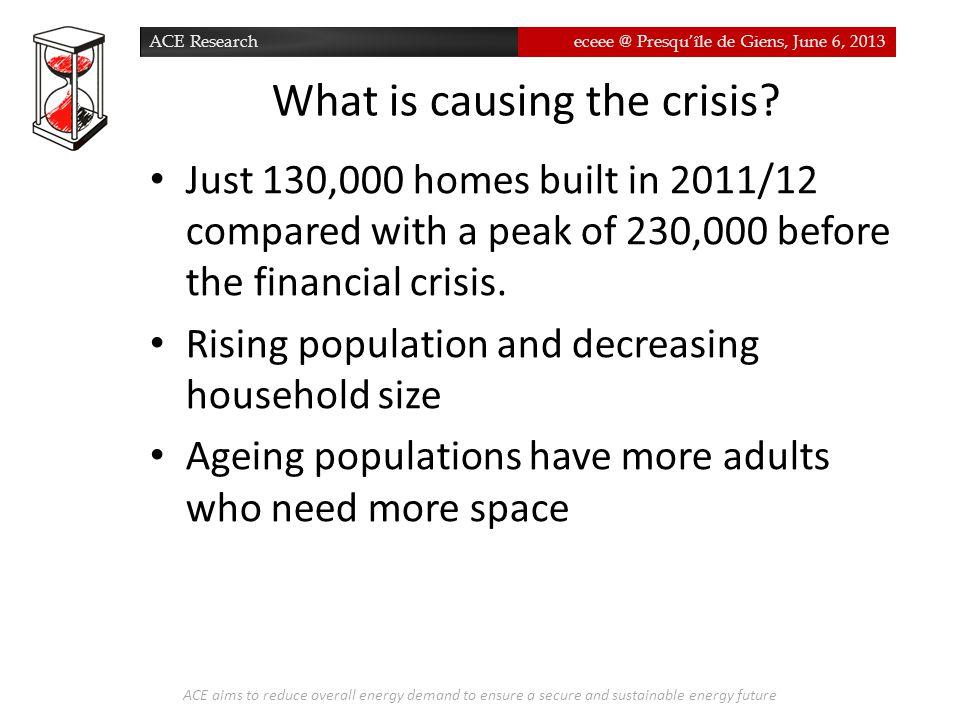 ACE Researcheceee @ Presqu'île de Giens, June 6, 2013 What is causing the crisis.