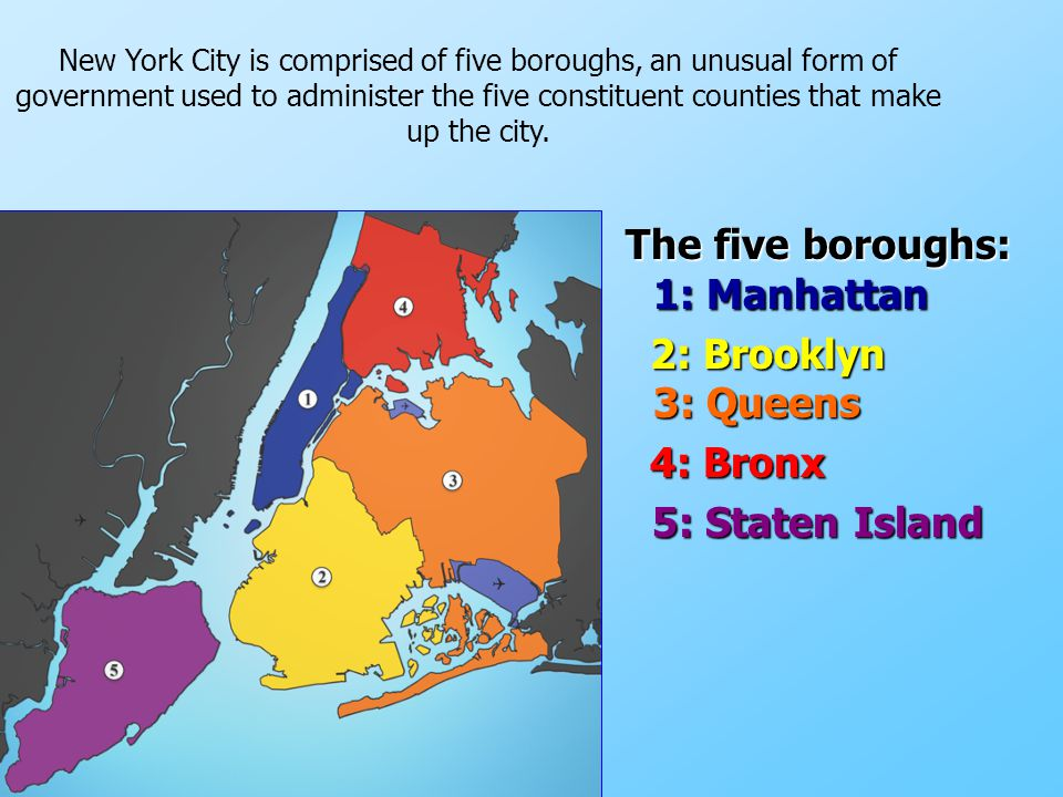 The five boroughs: 1: Manhattan The five boroughs: 1: Manhattan 2: Brooklyn 3: Queens 2: Brooklyn 3: Queens 4: Bronx 4: Bronx 5: Staten Island 5: Stat