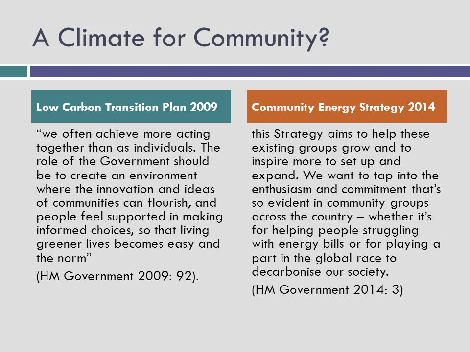 A Climate for Community.