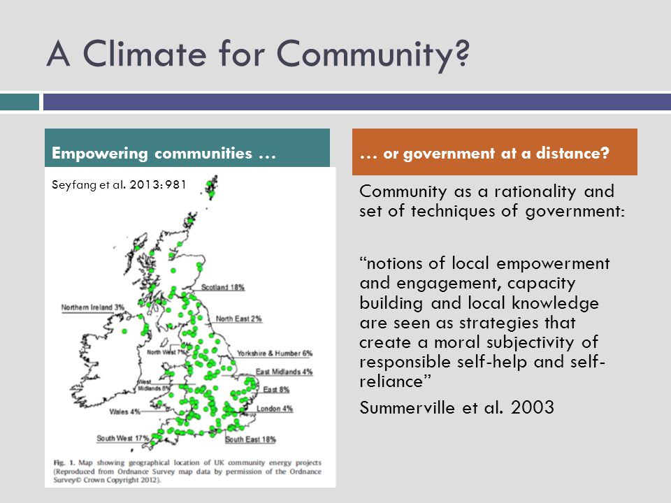 "A Climate for Community? Community as a rationality and set of techniques of government: ""notions of local empowerment and engagement, capacity buildi"