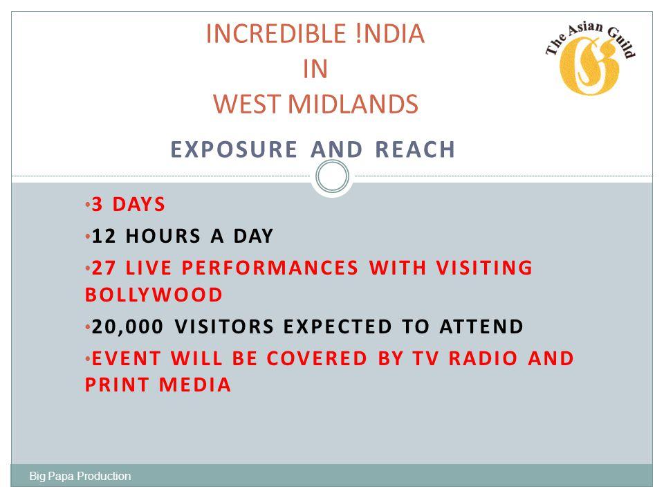 PUBLICITY !NCREDIBLE INDIA IN WEST MIDLANDS TELEVISION LOCAL BBC ITV SKY STAR B4U SONY ZEE NDTV RADIO LOCAL BBC HEART FM BRMB BEACON RADIO PRINT MEDIA BIRMINGHAM MAIL POST METRO EXPRESS STAR Big Papa Production