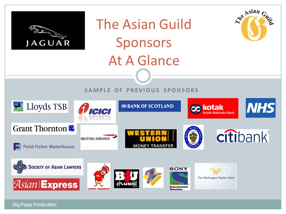 SPONSORS INDIA TOURIST OFFICE BIRMINGHAM CITY COUNCIL SANDWELL BOROUGH COUNCIL KINGFISHER AIRLINE HYTHE HOTEL JAGUAR CARS SONY ENTERTAINMENT KTC TILDA RICE GREAVES TRAVEL HDFC BANK LEBARA LAKHA TRAVELFIXER Big Papa Production