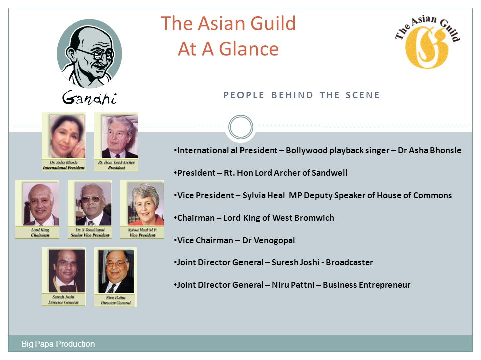 SAMPLE OF PREVIOUS SPONSORS The Asian Guild Sponsors At A Glance Big Papa Production