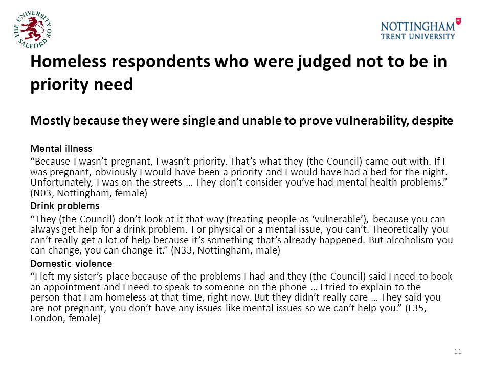 Homeless respondents who were judged not to be in priority need Mostly because they were single and unable to prove vulnerability, despite Mental illness Because I wasn't pregnant, I wasn't priority.
