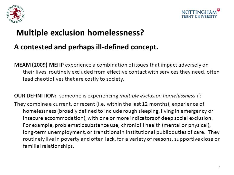 Multiple exclusion homelessness. A contested and perhaps ill-defined concept.